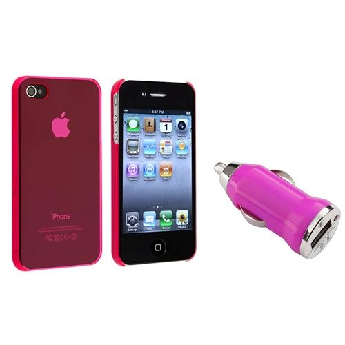 Insten Mini Car Charger+Crystal Clear Pink New Case for Verizon Sprint iPhone 4S 4G 4