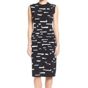 Halogen NEW Black White Women's Size XL Sheath Printed Ribbed Dress $118