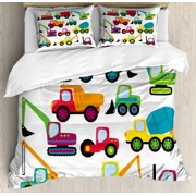 Construction Duvet Cover Set, Cute Style Vehicles and Heavy Equipment Forklift Earthmover Excavator Mixer, Decorative Bedding Set with Pillow Shams, Multicolor, by Ambesonne