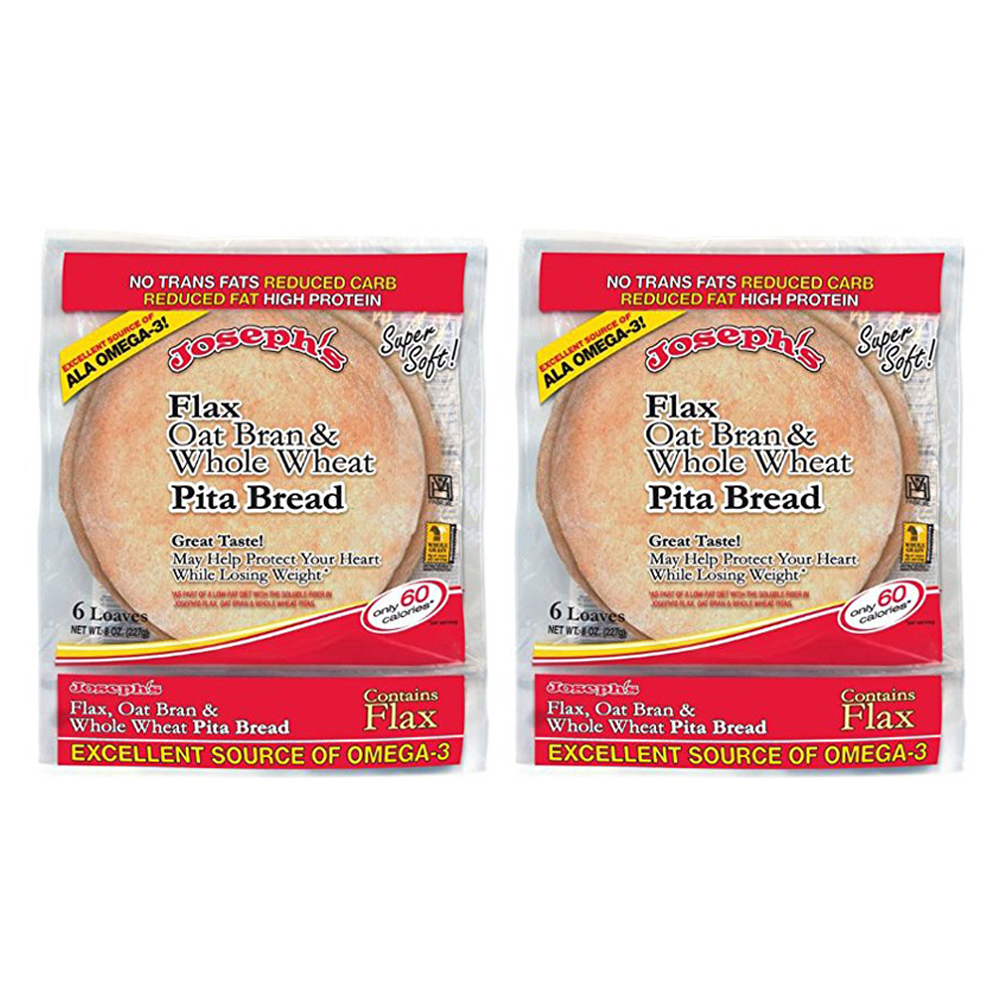 Joseph's Bakery Flax Oat Bran and Whole Wheat Pita Bread Reduced Carb (2 Pack)
