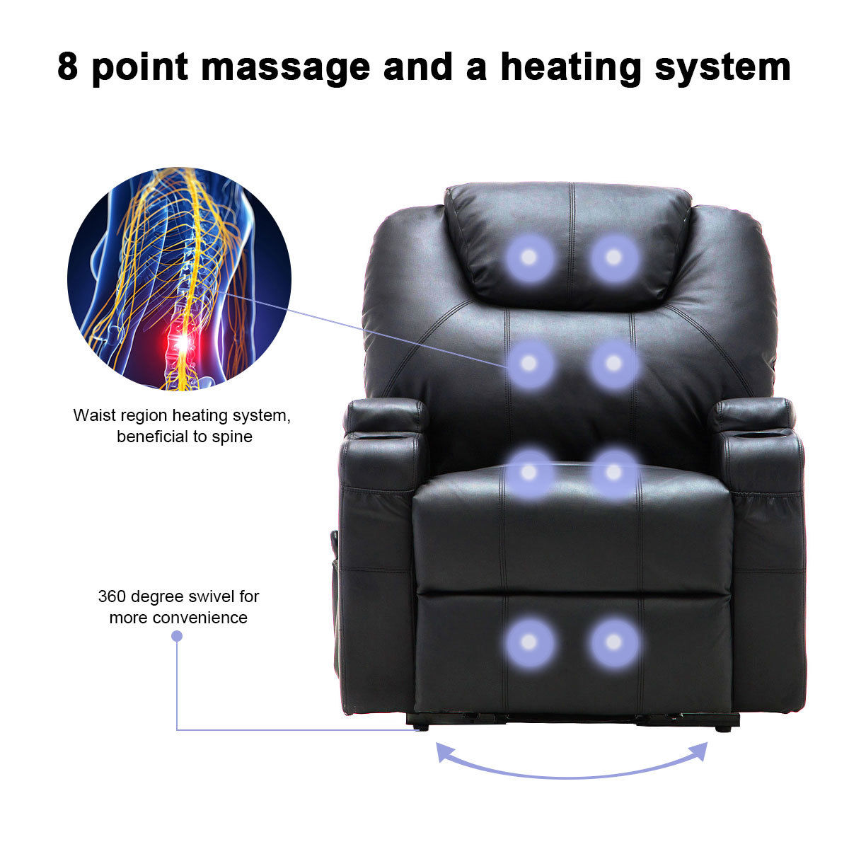 Costway Electric Lift Power Recliner Chair Heated Massage Sofa