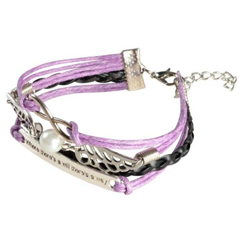 Zodaca 7 to 9 inch Adjustable Lavender White Braided Velvet and Leather Cord Bracelet with Silver Idiom Plate Design