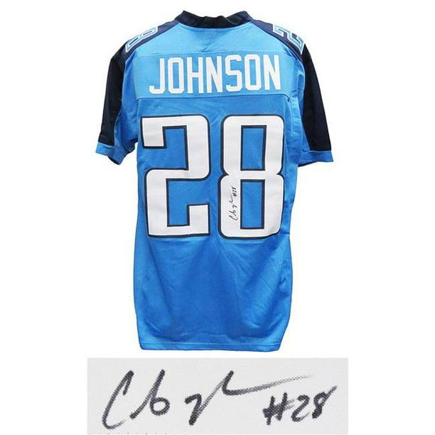Chris Johnson Signed Blue Custom Football Jersey