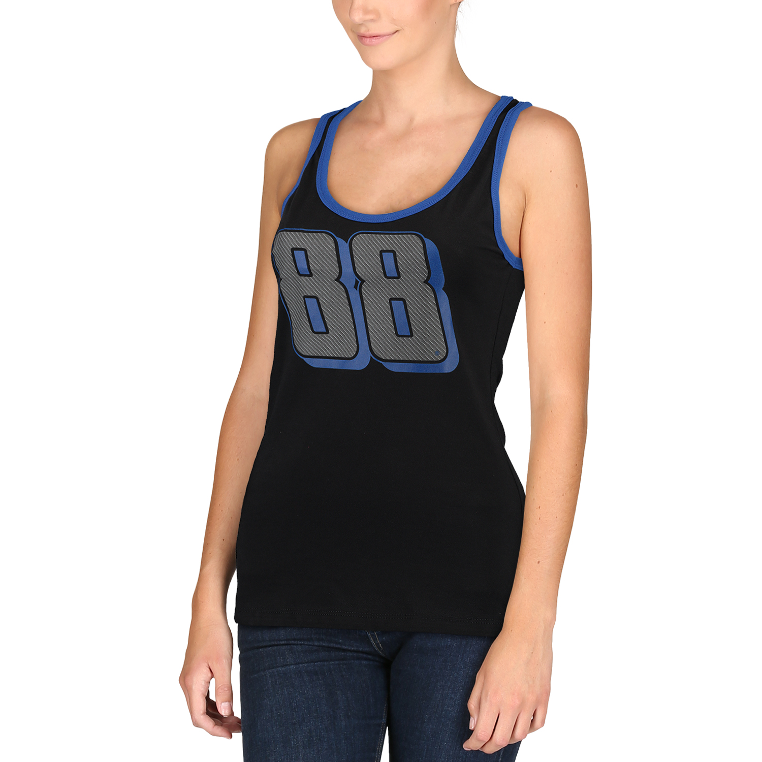 Dale Earnhardt Jr. Women's Stealth Pop Racerback Tank Top - Black/Blue