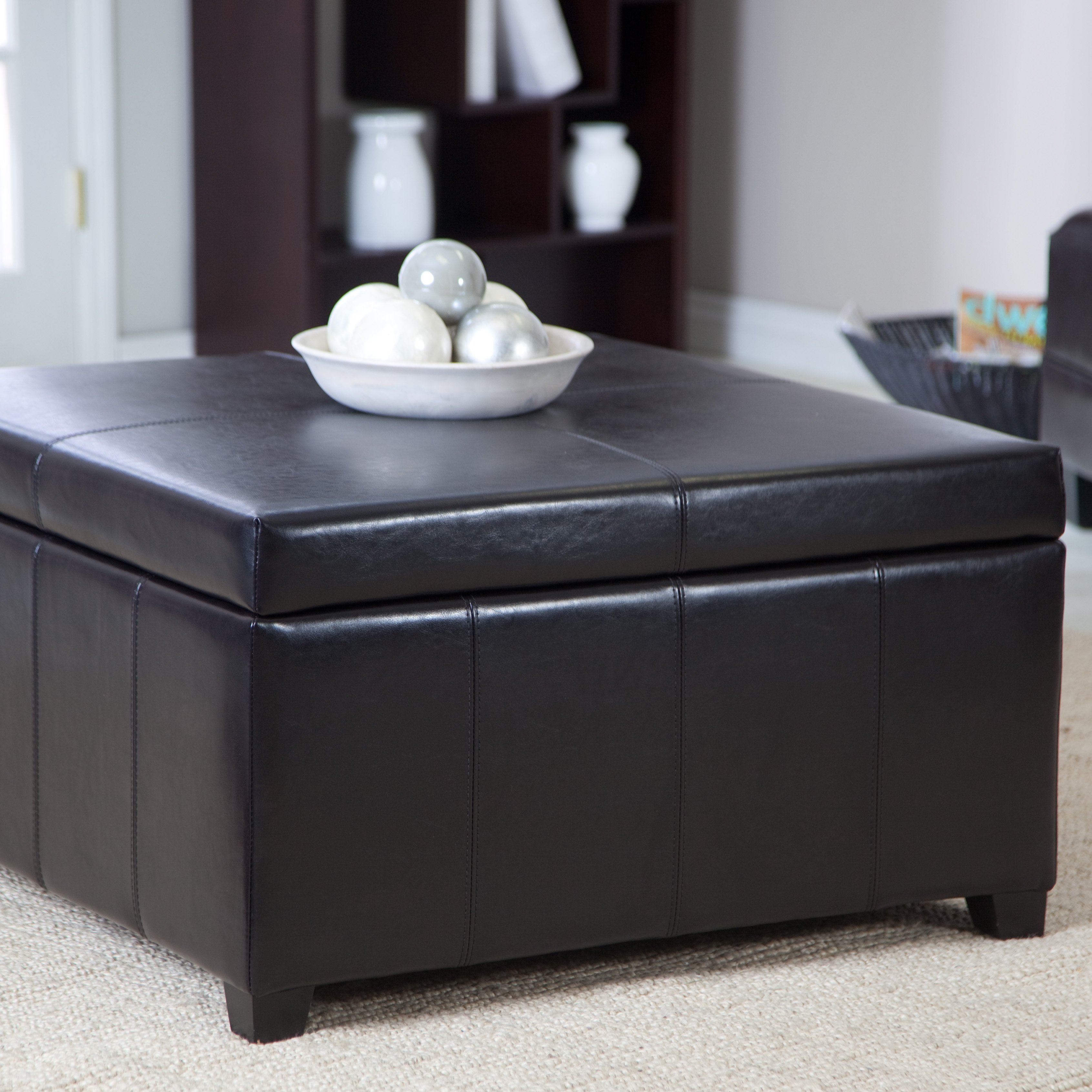 Cape Town Large Leather Storage Ottoman Walmartcom