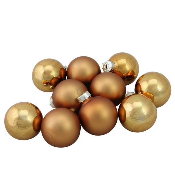 "Gold Ball Ornament Set 10 Matte Glass  1.75/"" Christmas Tree Decor 45mm Box"