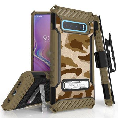 Cotton Desert Storm Camouflage - Galaxy S10 Plus (SM-G975) Case, TRISHIELD Rugged Cover With + [Belt Clip Holster] + [Built in kickstand] For Samsung Galaxy S10 Plus - Desert Storm Camouflage
