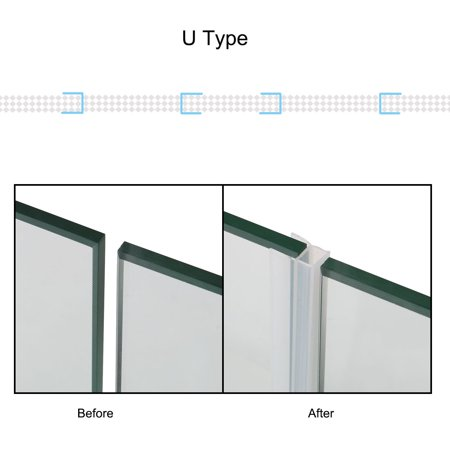 U Type Frameless Shower Door Bottom Seal for 3/8 inch Glass, 9.8 Ft Length - image 6 of 7