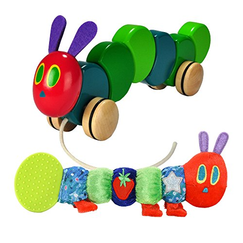 Eric Carle Wood Pull Toy with Teether Rattle