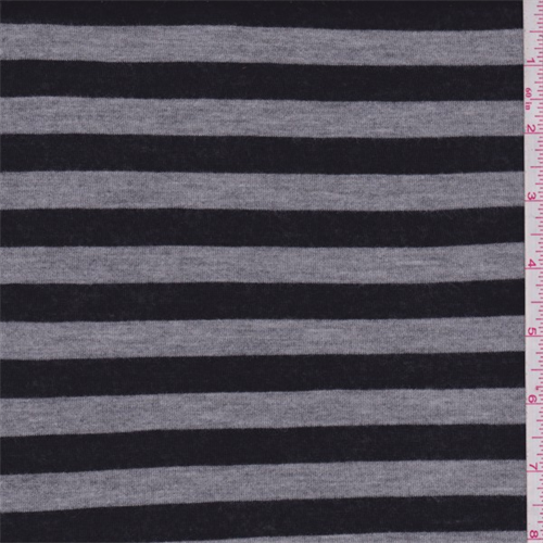 Black/Grey Stripe Jersey Knit, Fabric By the Yard