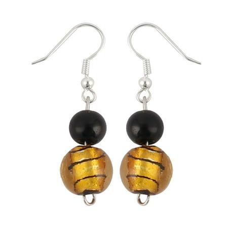 Lady Glass Round Bead Pendant Dangling Fish Hook Dangle Earrings Yellow Pair