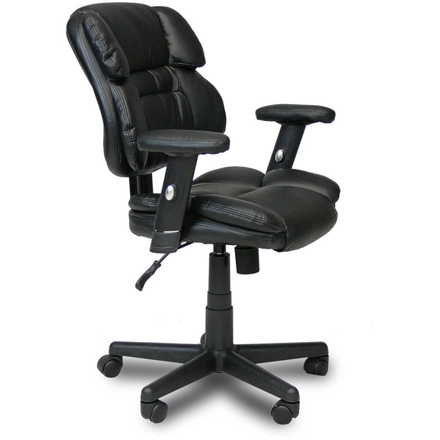 Furinno Hidup Leather Mid Back Executive Chair, Black