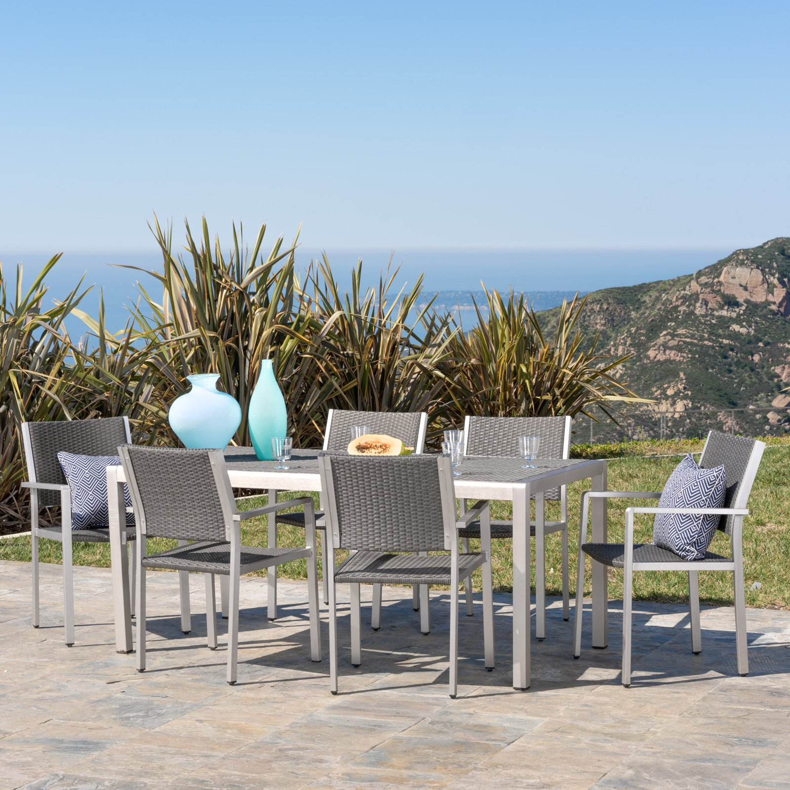 Cape Coral Aluminum 7 Piece Outdoor Dining Table Set