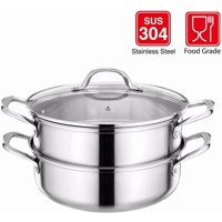 Stainless Steel 3-Piece 5.8-Quart 2-Tier Pasta/ Steamer Pot Set ,1Steamer Insert and Vented Glass Lid and Double Handles,Premium Heavy Duty Steamer Saucepot double boiler