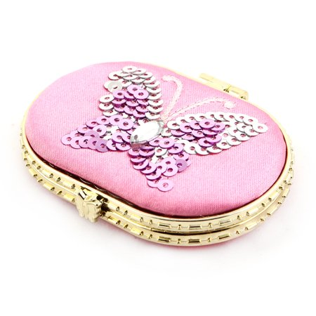 Oval Shaped Butterfly Pattern Button Closure Cosmetic Makeup Mirror Pink - Butterfly Makeup