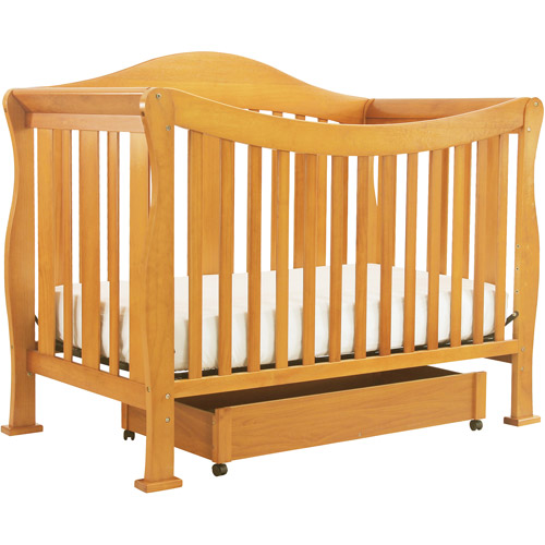 DaVinci Parker 4-in-1 Fixed-Side Convertible Crib with Toddler Rail, Oak