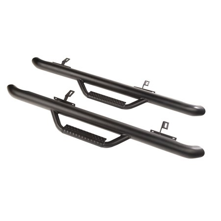 Rugged Ridge 11596.03 Nerf Bar SPARTAN (TM) With Drop Down Steps; 3 Inch Round Bent; Powder Coated; Black; Steel; With End Caps; Pinch Weld/ Body Mount - image 2 of 2