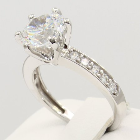 2.50 Ct 14K Real White Gold Large Round Cut Center 6 Prong Cathedral Setting with Pave Set Side Stones Solitaire Engagement Wedding Propose Promise - Pave Setting Ring