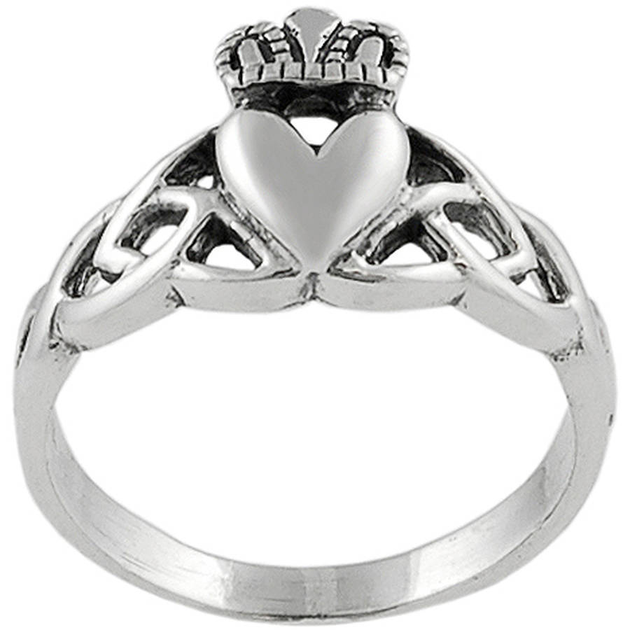 Brinley Co. Women's Sterling Silver Celtic Trefoil Knot Claddagh Fashion Ring