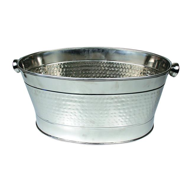 Starcrafts 72241 19.29 x 10.24 in. Stainless Steel Hammered Party Tub