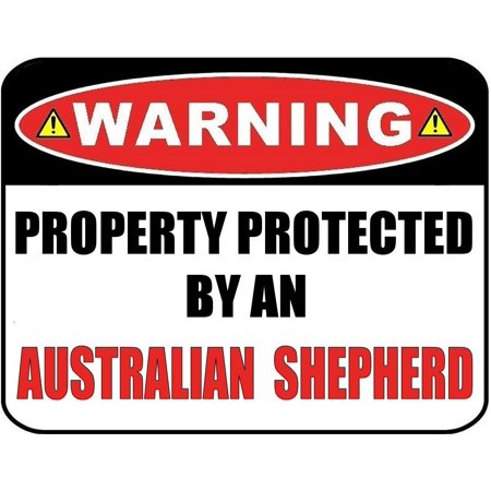 Warning Property Protected by an Australian Shepherd 9 inch x 11.5 inch Laminated Dog -
