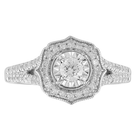1/2 cttw Diamond Halo Art Deco Engagement Ring with Split Shank in 10K White Gold (I-J, I2-I3) Antique Art Deco Diamond Ring
