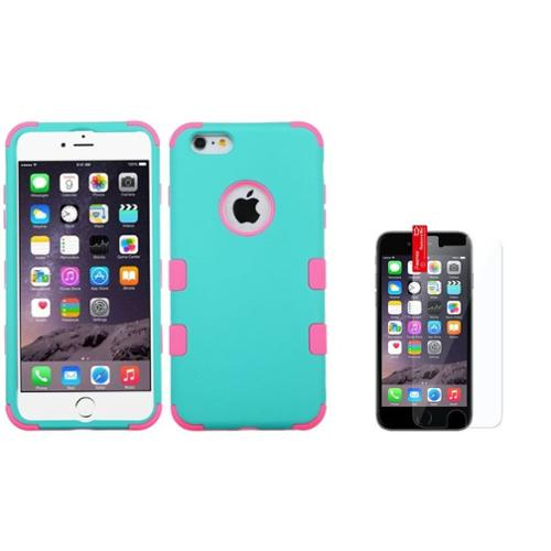 "Insten Teal Green/Pink TUFF Hybrid Soft Skin Case For iPhone 6S Plus / 6 Plus 5.5""+Screen Protector (2-in-1 Accessory Bundle)"