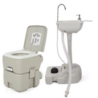 Ktaxon Portable Sink and Toilet Combo, 5 Gallon Camping Toilet with Wash Basin, for Outdoor Activities