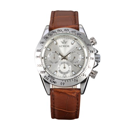- Silver Dial Chronograph Mens Mechanical Automatic Watch Brown Leather Strap