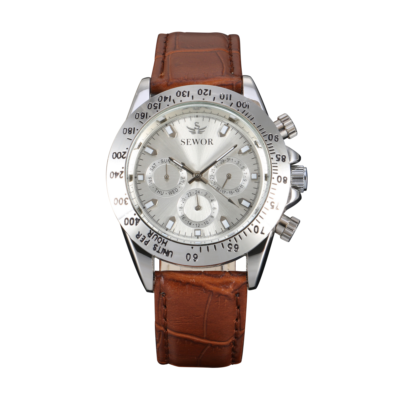 Silver Dial Chronograph Mens Mechanical Automatic Watch Brown Leather Strap