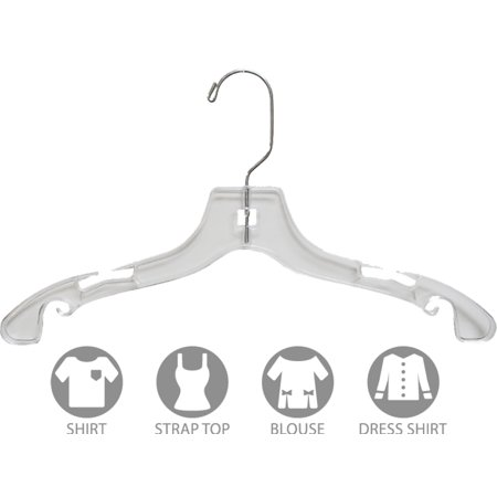 Clear Plastic Kids Top Hanger, Box of 100 Flat 14 Inch Top Hangers for Teens with Notches and Chrome Swivel Hook by International Hanger