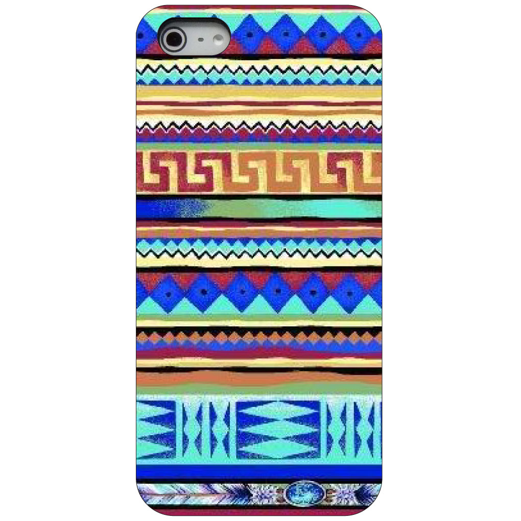 CUSTOM Black Hard Plastic Snap-On Case for Apple iPhone 5 / 5S / SE - Blue Red Yellow Tribal Print