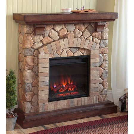 Stacked Stone Electric Quartz Fireplace Heater / Ventless -