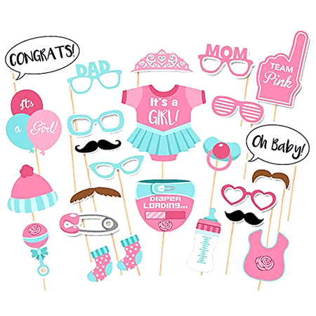 Peralng It's A Girl Decorations Party Baby Shower Photo Booth Props Kits on Sticks Set of 25pcs