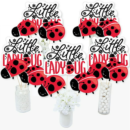 Happy Little Ladybug - Baby Shower or Birthday Party Centerpiece Sticks - Table Toppers - Set of 15 - Ladybug Centerpieces