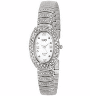 Burgi Women's Diamond Oval Quartz Silver-Tone Bracelet Watch
