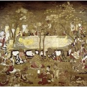 Buddha Death Nthe BuddhaS Body Is Laid To Rest Amidst Grieving Bodhisattvas Archats And His Disciples Japanese Silk Pain