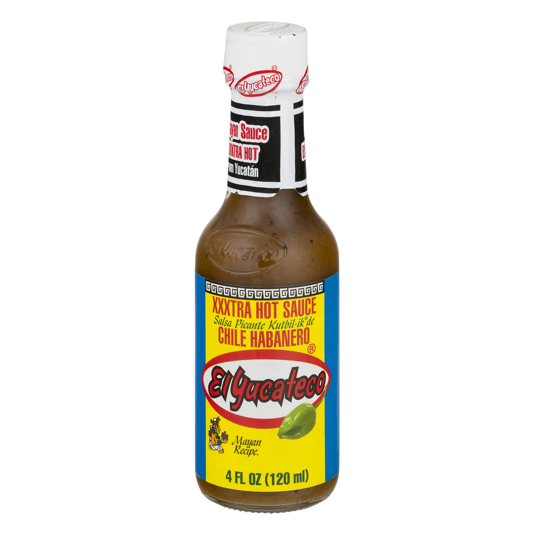 (4 Pack) El Yucateco Chile Habanero Xxxtra Hot Sauce, 4 fl oz