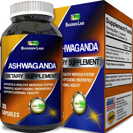 Biogreen Labs Ashwagandha Root Powder Supplement for Relaxation and Sleep Support Natural Stress Relief Immune System Booster Ayurveda Mood Balancer Anti-Anxiety and Adrenal Fatigue 60
