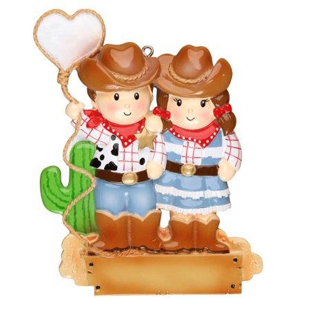 Cowboy Couple Personalized Christmas Ornament DO-IT-YOURSELF (Dallas Cowboy Ornaments)