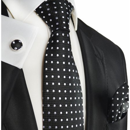 Extra Long Black and Silver Polka Dots Paul Malone Silk Tie with Accessories](Polkadot Tie)