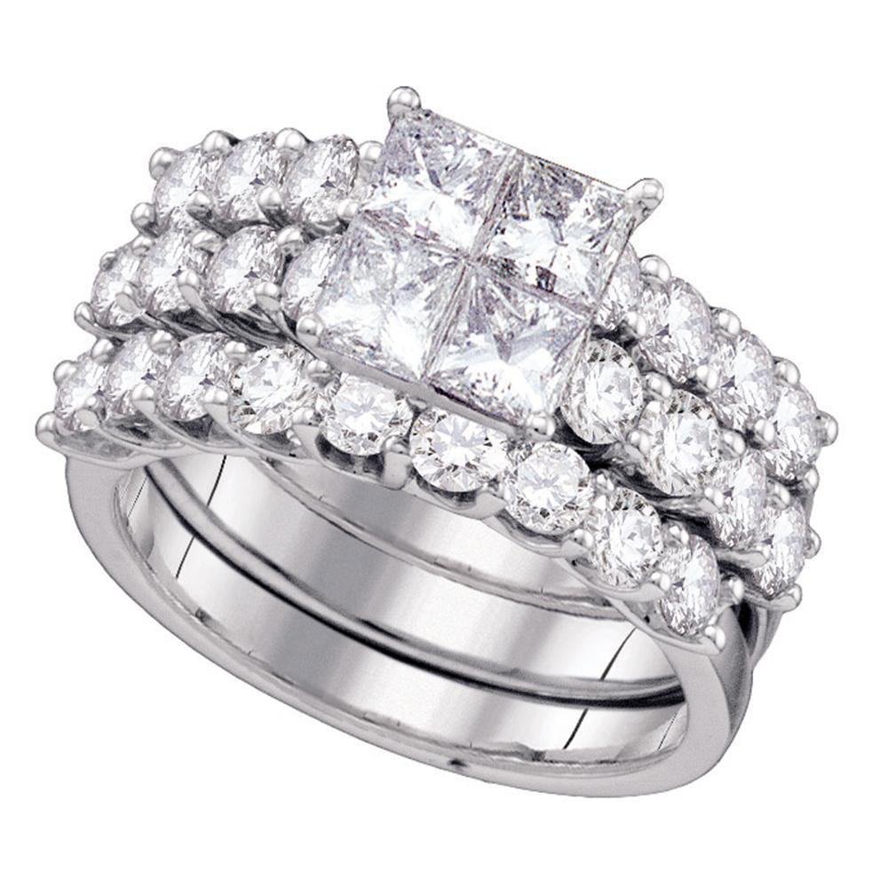 14kt White Gold Womens Princess Diamond 3 Piece Bridal Wedding Engagement Ring Band Set 4 00 Cttw Walmart Com