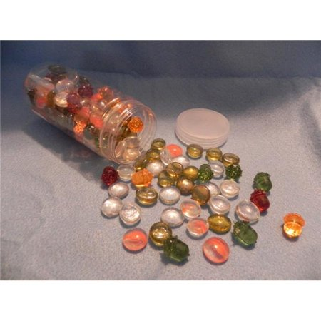 23 oz Assorted Fall Glass Gems & Acorns (611 Glasses)