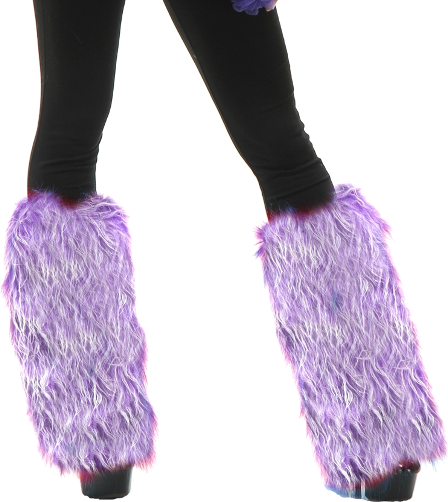 O//S Leg Avenue Womens Warrior Faux Fur Leg Warmers with Faux Leather Wrap Detail Purple