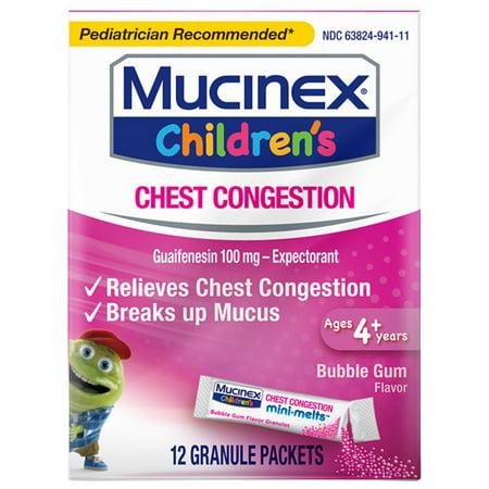 Mucinex Children's Chest Congestion Expectorant Mini-Melts, Bubble Gum - 12