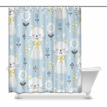 Mkhert Cute Cats With Flowers Bathroom Shower Curtain 60x72 Inch