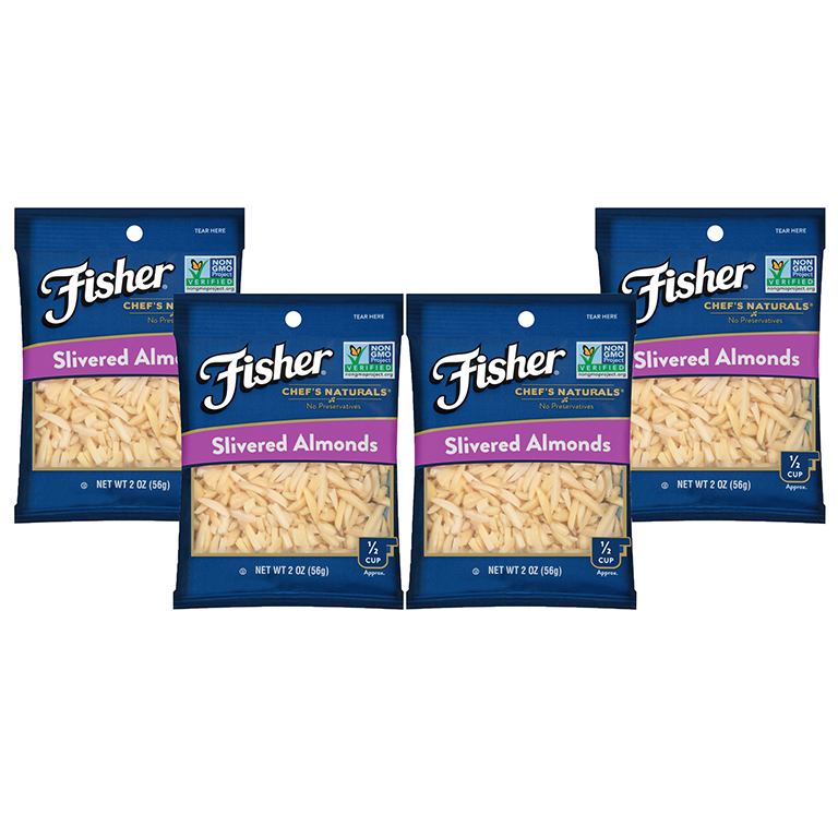 Fisher Chef's Naturals Slivered Almonds, 2 Oz, Pack of 4