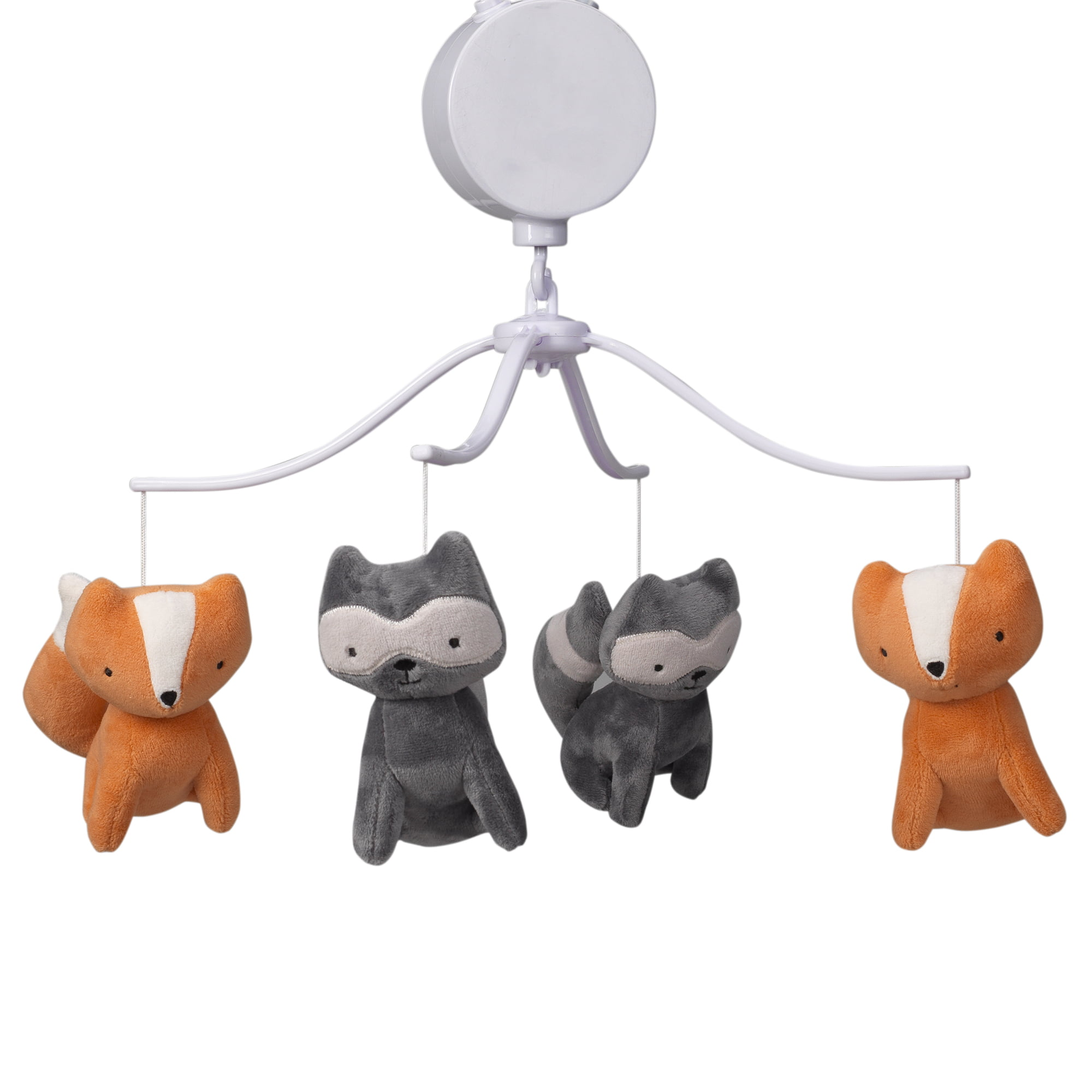Click here to buy Bedtime Originals Acorn Gray Orange Fox and Raccoon Musical Baby Crib Mobile by Bedtime Originals.