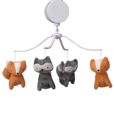 Bedtime Originals Acorn Gray/Orange Fox and Raccoon Musical Baby Crib