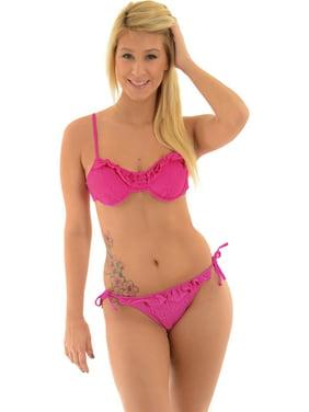 e435cf36a9 Product Image In Mocean Juniors Underwire Bikini Top String Bottoms Pink  Ruffle 2 Piece Set